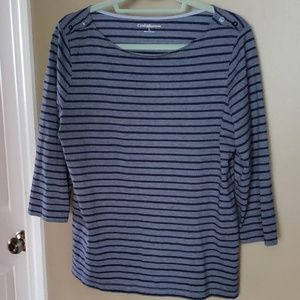 Women's L navy blue striped 3/4 sleeve top